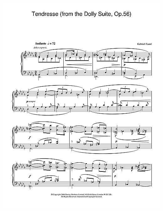 Gabriel Fauré Tendresse (from the Dolly Suite, Op.56) sheet music notes and chords. Download Printable PDF.