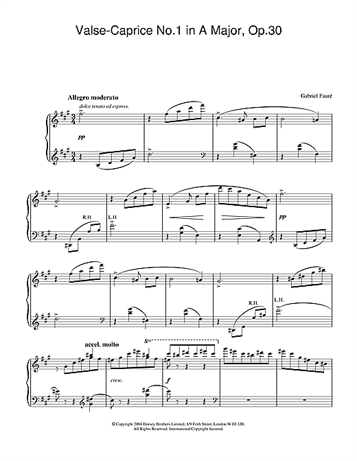 Gabriel Fauré Valse-Caprice No.1 in A Major, Op.30 sheet music notes and chords. Download Printable PDF.