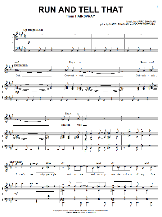 Marc Shaiman Run And Tell That (from Hairspray) sheet music notes and chords. Download Printable PDF.