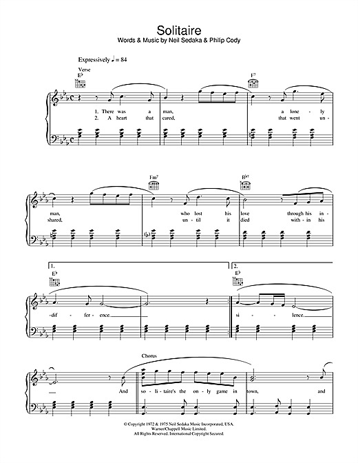Carpenters Solitaire sheet music notes and chords. Download Printable PDF.