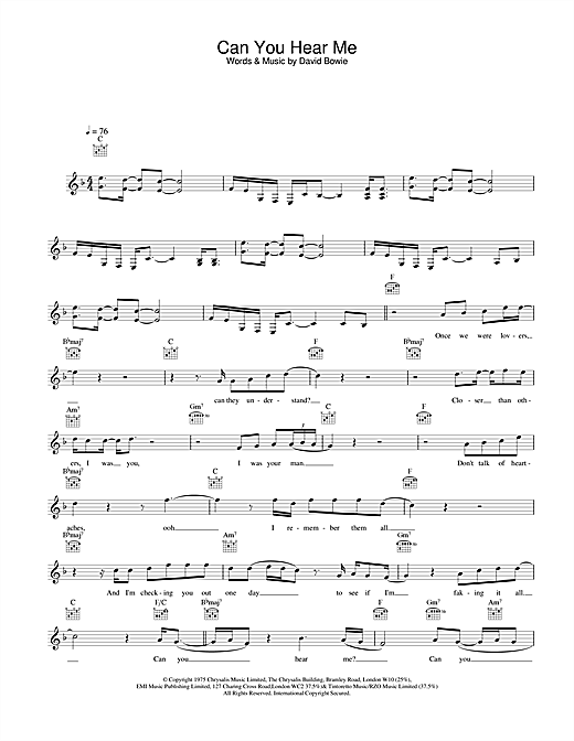David Bowie Can You Hear Me sheet music notes and chords. Download Printable PDF.