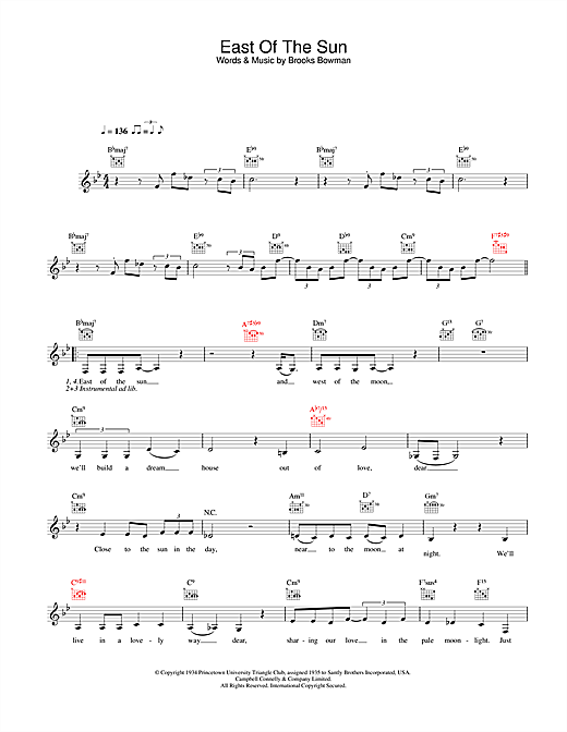 Diana Krall East Of The Sun (And West Of The Moon) sheet music notes and chords. Download Printable PDF.