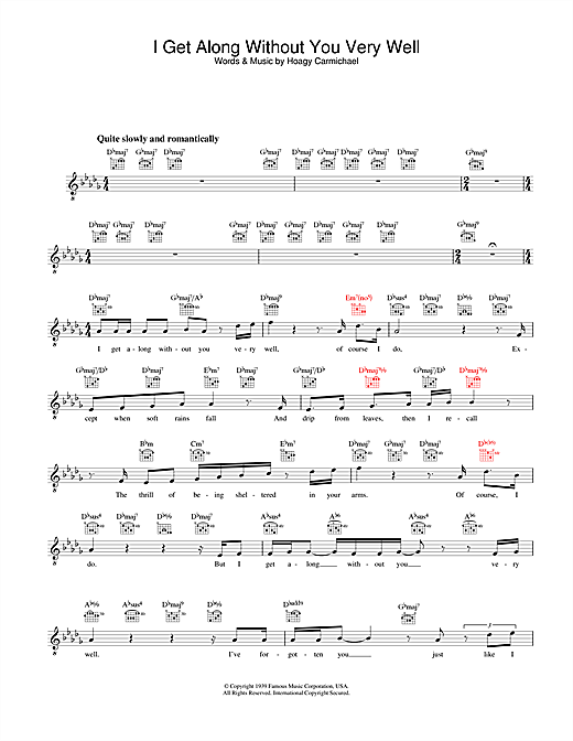 Diana Krall I Get Along Without You Very Well sheet music notes and chords. Download Printable PDF.