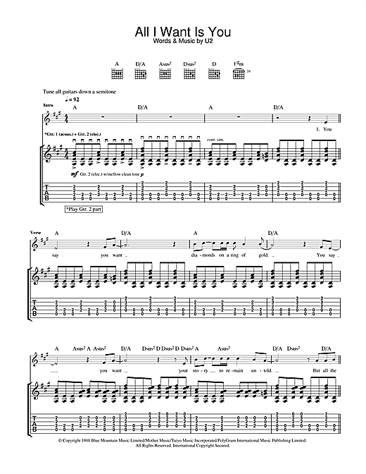 U2 All I Want Is You sheet music notes and chords. Download Printable PDF.