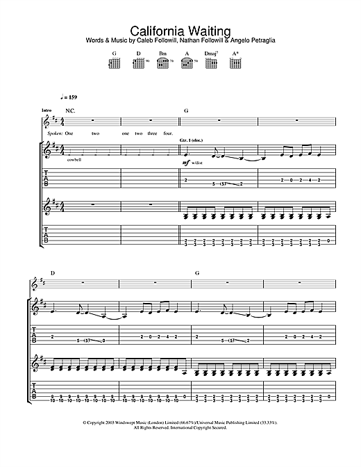 Kings Of Leon California Waiting sheet music notes and chords. Download Printable PDF.