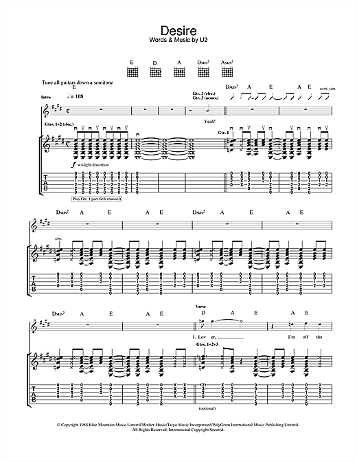 U2 Desire sheet music notes and chords. Download Printable PDF.