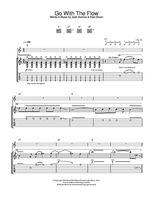 Queens Of The Stone Age Go With The Flow sheet music notes and chords. Download Printable PDF.
