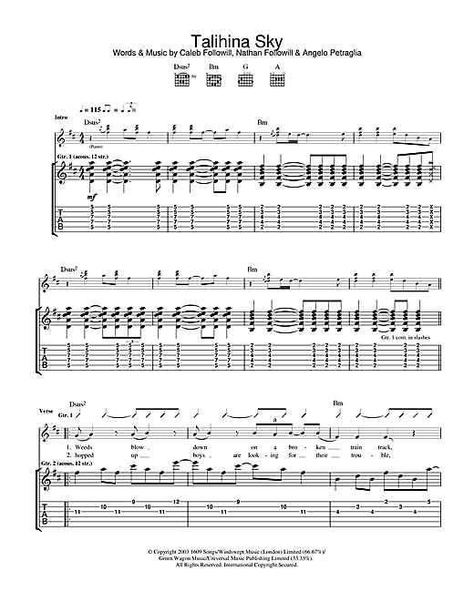 Kings Of Leon Talihina Sky sheet music notes and chords. Download Printable PDF.
