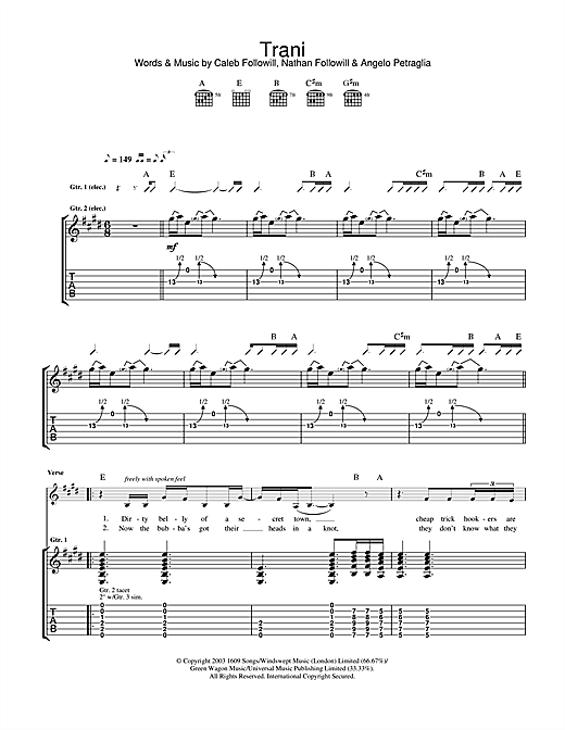 Kings Of Leon Trani sheet music notes and chords. Download Printable PDF.
