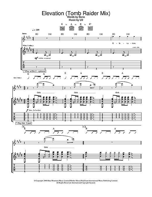 U2 Elevation (Tomb Raider Mix) sheet music notes and chords. Download Printable PDF.