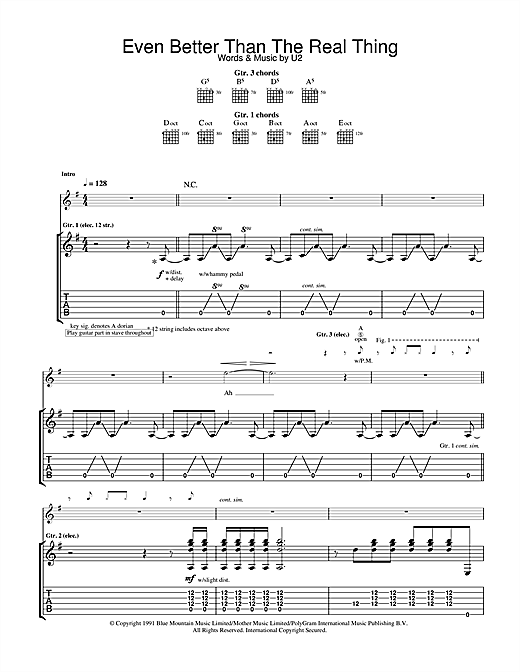 U2 Even Better Than The Real Thing sheet music notes and chords. Download Printable PDF.