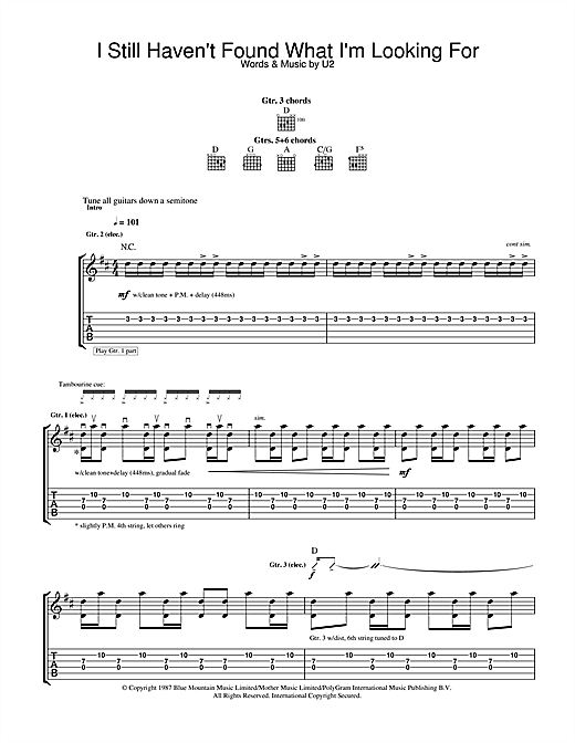 U2 I Still Haven't Found What I'm Looking For sheet music notes and chords. Download Printable PDF.