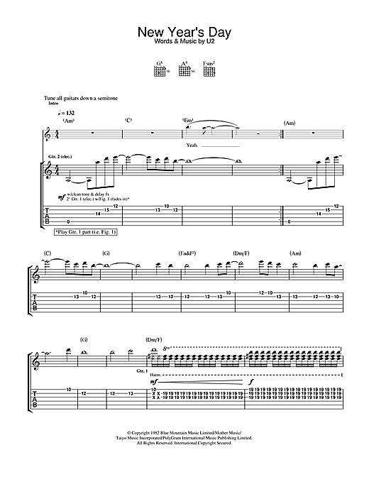 U2 New Year's Day sheet music notes and chords. Download Printable PDF.