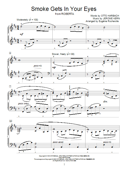 Jerome Kern Smoke Gets In Your Eyes sheet music notes and chords. Download Printable PDF.