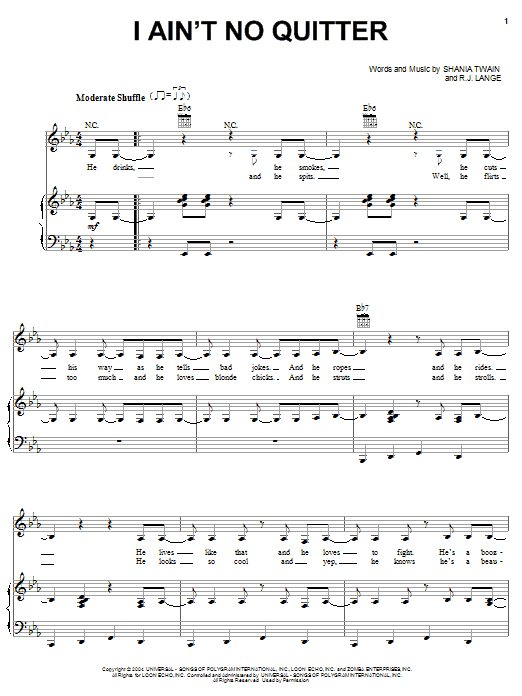 Shania Twain I Ain't No Quitter sheet music notes and chords. Download Printable PDF.