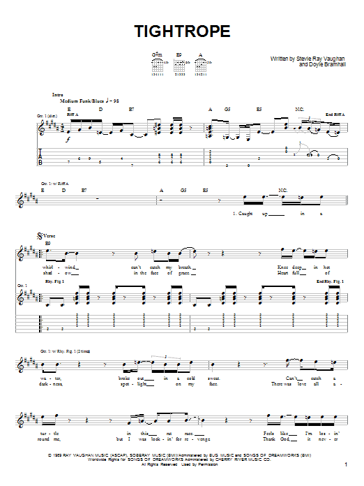 Stevie Ray Vaughan Tightrope sheet music notes and chords. Download Printable PDF.