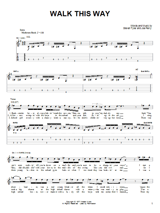 Aerosmith and Run D.M.C. Walk This Way sheet music notes and chords. Download Printable PDF.