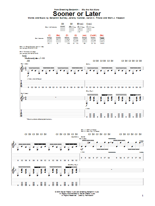Breaking Benjamin Sooner Or Later sheet music notes and chords. Download Printable PDF.