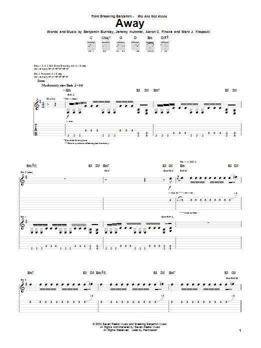 Breaking Benjamin Away sheet music notes and chords. Download Printable PDF.