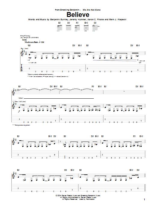 Breaking Benjamin Believe sheet music notes and chords. Download Printable PDF.