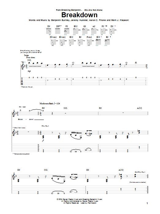Breaking Benjamin Breakdown sheet music notes and chords. Download Printable PDF.
