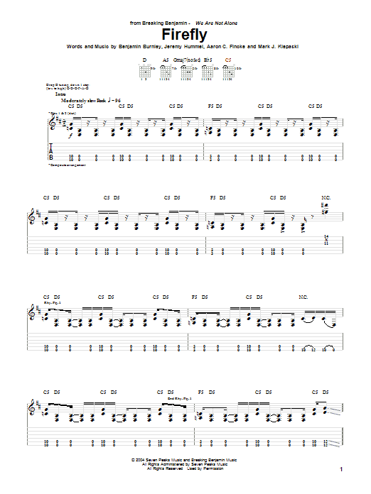 Breaking Benjamin Firefly sheet music notes and chords. Download Printable PDF.