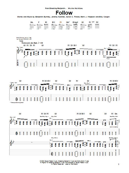 Breaking Benjamin Follow sheet music notes and chords. Download Printable PDF.