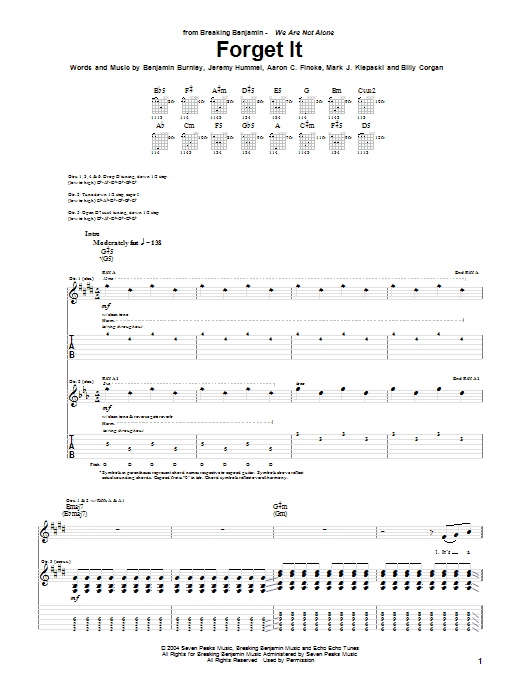 Breaking Benjamin Forget It sheet music notes and chords. Download Printable PDF.