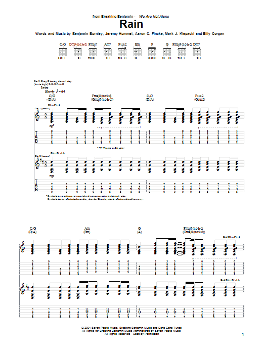 Breaking Benjamin Rain sheet music notes and chords. Download Printable PDF.