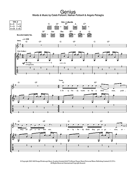 Kings Of Leon Genius sheet music notes and chords. Download Printable PDF.