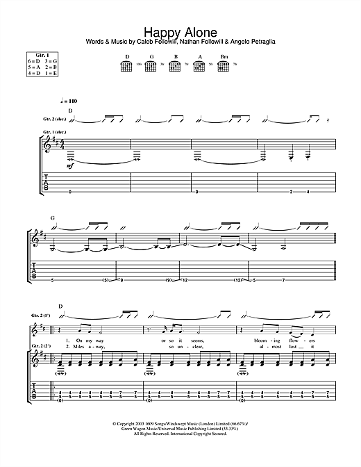 Kings Of Leon Happy Alone sheet music notes and chords. Download Printable PDF.