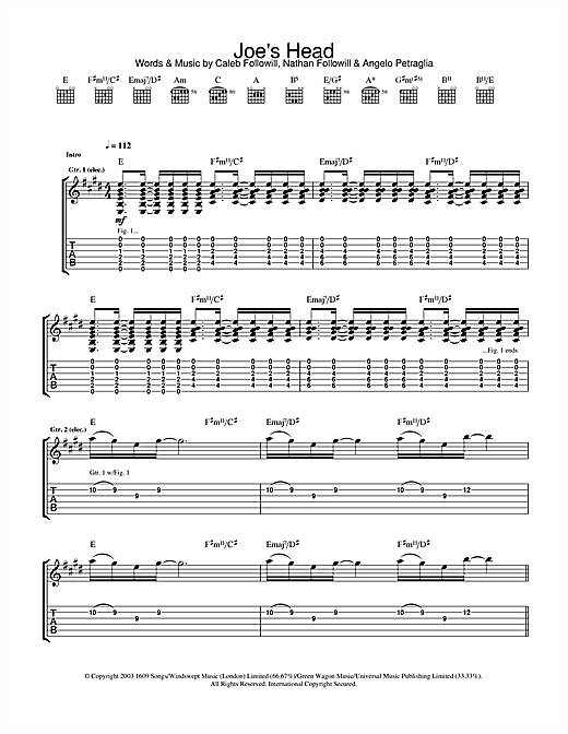 Kings Of Leon Joe's Head sheet music notes and chords. Download Printable PDF.