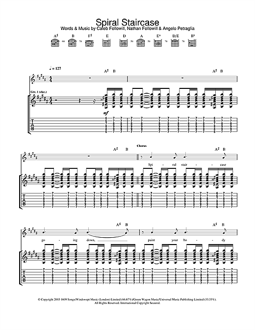 Kings Of Leon Spiral Staircase sheet music notes and chords. Download Printable PDF.