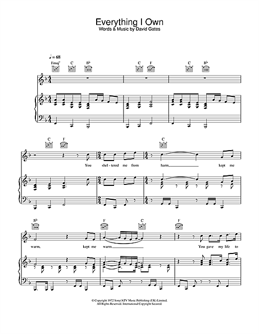 Ken Boothe Everything I Own sheet music notes and chords. Download Printable PDF.