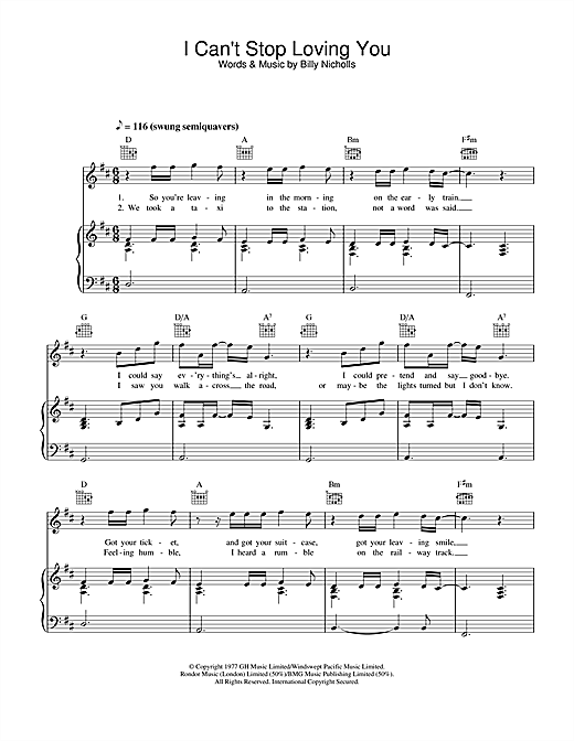 Leo Sayer I Can't Stop Loving You sheet music notes and chords. Download Printable PDF.