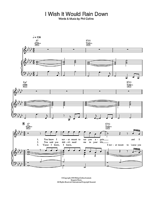 Phil Collins I Wish It Would Rain Down sheet music notes and chords. Download Printable PDF.