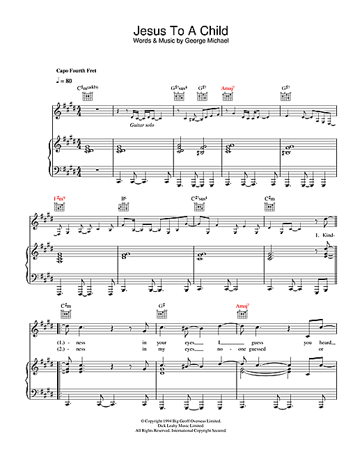 George Michael Jesus To A Child sheet music notes and chords. Download Printable PDF.
