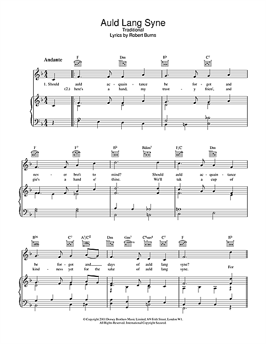 Traditional Auld Lang Syne sheet music notes and chords. Download Printable PDF.