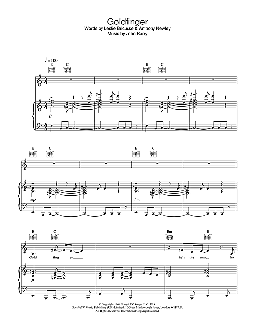 Shirley Bassey Goldfinger (theme from the James Bond film) sheet music notes and chords. Download Printable PDF.