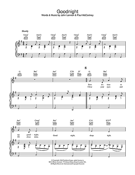 The Beatles Goodnight sheet music notes and chords. Download Printable PDF.