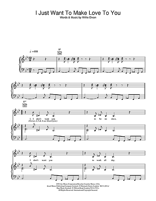 Muddy Waters I Just Want To Make Love To You sheet music notes and chords. Download Printable PDF.