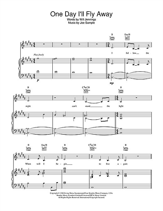 Nicole Kidman One Day I'll Fly Away (from Moulin Rouge) sheet music notes and chords. Download Printable PDF.