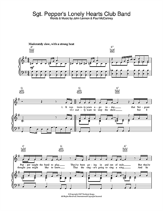 The Beatles Sgt. Pepper's Lonely Hearts Club Band sheet music notes and chords. Download Printable PDF.