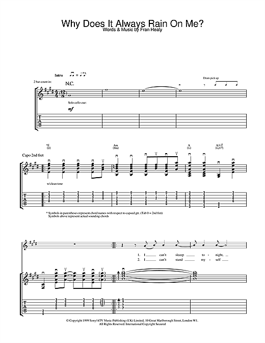 Travis Why Does It Always Rain On Me? sheet music notes and chords. Download Printable PDF.