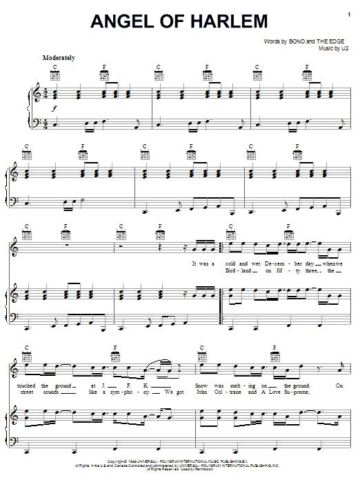 U2 Angel Of Harlem sheet music notes and chords. Download Printable PDF.