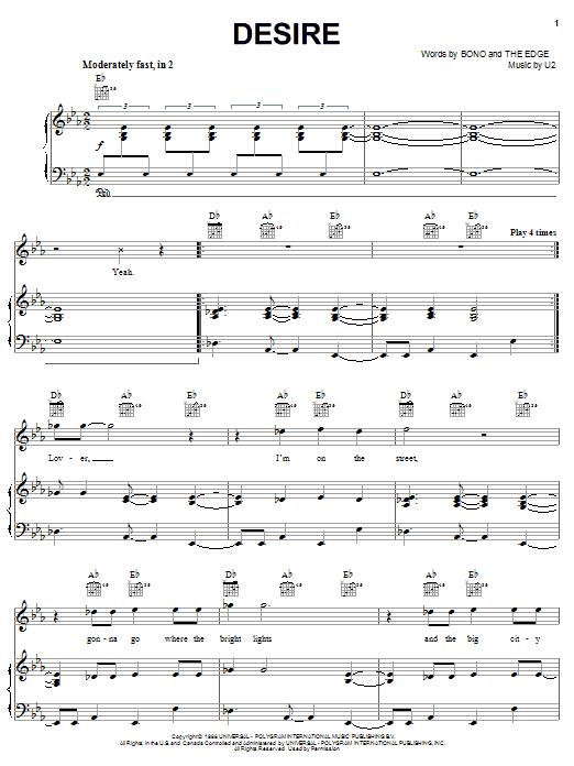 U2 Desire sheet music notes and chords. Download Printable PDF.