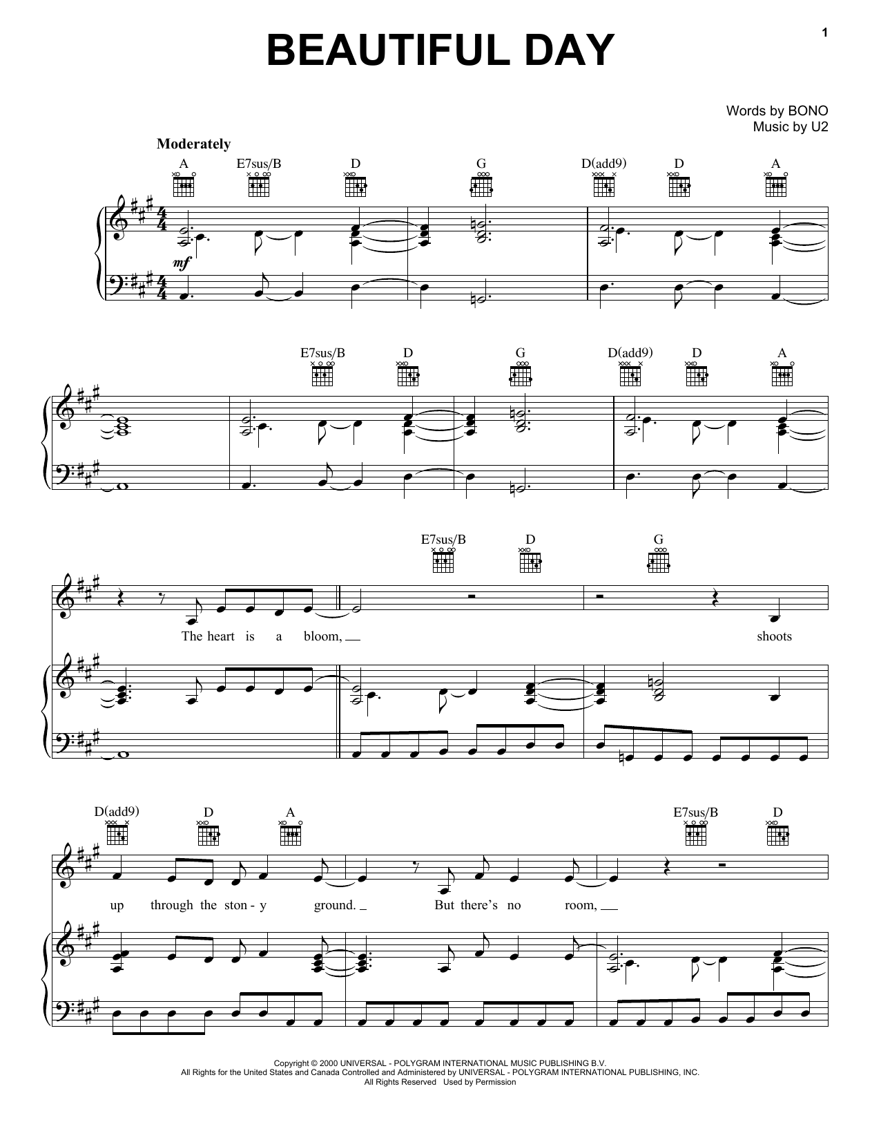 U2 Beautiful Day sheet music notes and chords. Download Printable PDF.
