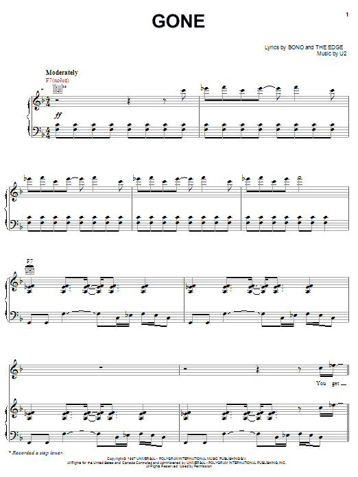 U2 Gone sheet music notes and chords. Download Printable PDF.