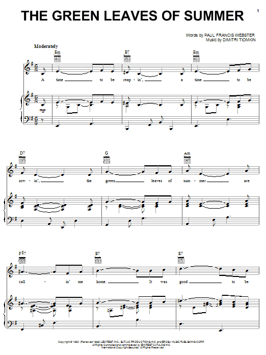 Dimitri Tiomkin The Green Leaves Of Summer sheet music notes and chords. Download Printable PDF.