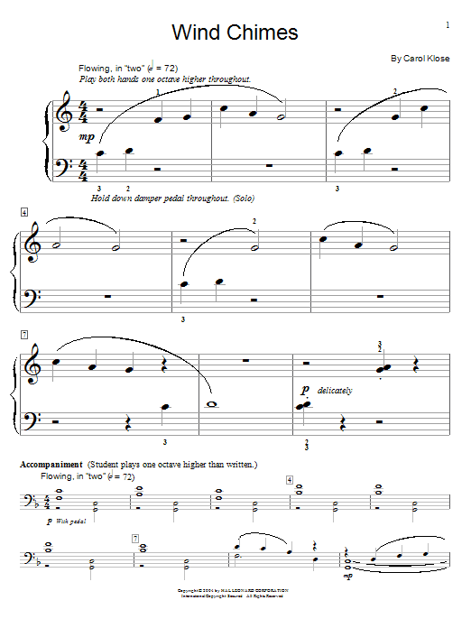 Carol Klose Wind Chimes sheet music notes and chords. Download Printable PDF.